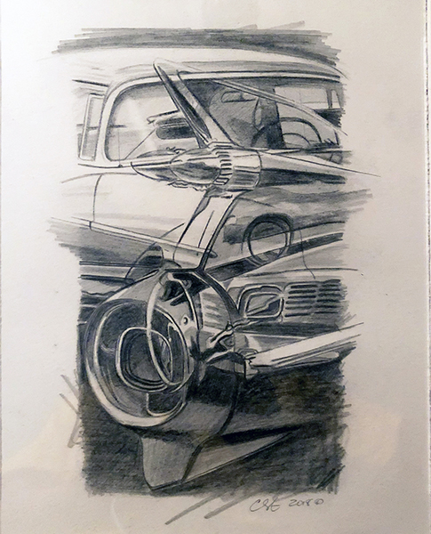 Cars (study).graphite on paper.16__x13__framed.jpg