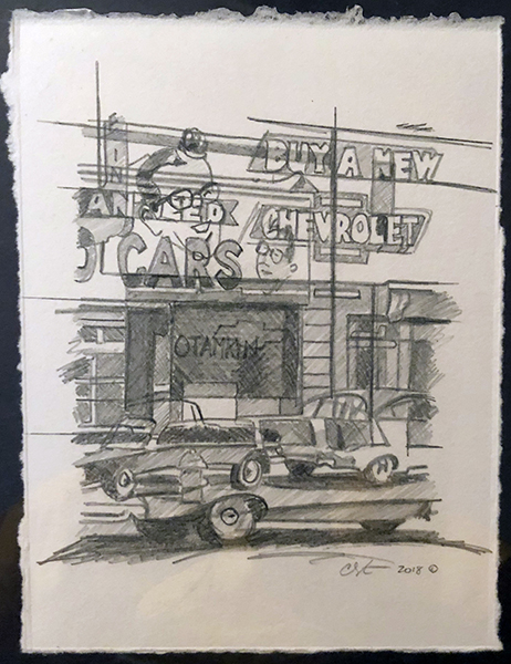 Used Cars (study).graphite on paper.12__x10__framed.jpg