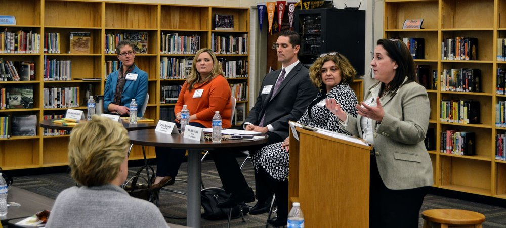 Ms. Tammy White, President/CEO of Leadership Knoxville, moderates a panel of Ms. Beth Lackey, President of Spring Hill Elementary School, Dr. Jon Rysewyk, Chief Academic Officer of Knox County Schools, Ms. Leanne Hawn, Executive Principal of Career Magnet Academy, and Ms. Stephanie Welch, Vice President of Great Schools Partnership