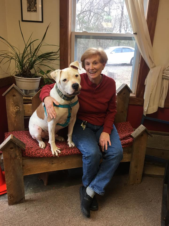 Trainer Peggy and Dozer at couch manners training