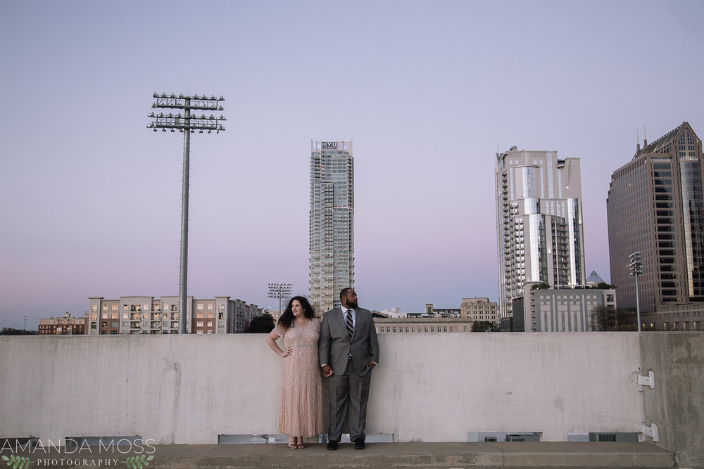 charlotte engagement session downtown rooftop