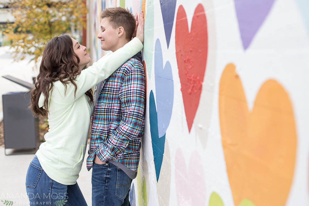 charlotte photographer wedding family portrait southend confetti hearts wall