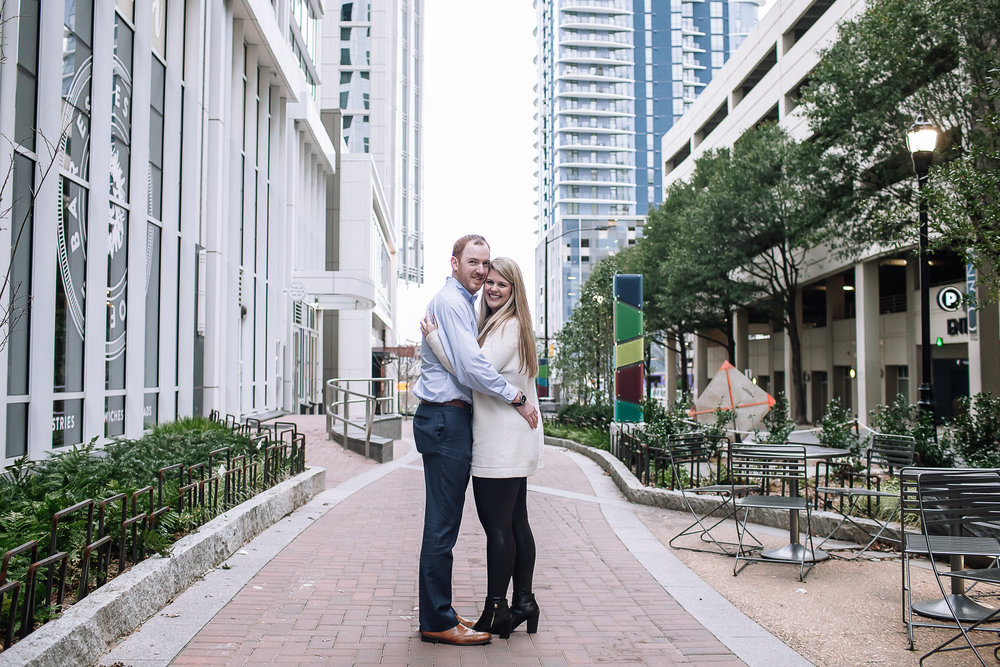 charlotte north carolina wedding photographer uptown engagement session