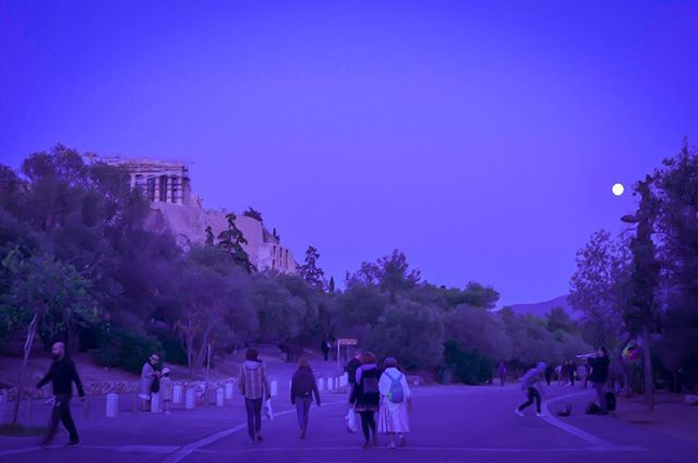 """""""I often think that the night is more alive and more richly colored than the day""""  Who said that? Comment below ⤵️ if you know it! . . . . . . . #athens #photography #bestoftheday #travel_greece #tour #walkingtour #athensnightowls #night #goodnight #photooftheday #acropolis #view #colorful #violet #travelgram #quotes #inspiration"""
