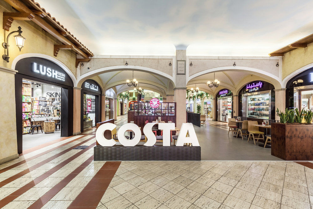 INC Group provided the interior construction for the Costa Coffee in Mercato Mall in Dubai.
