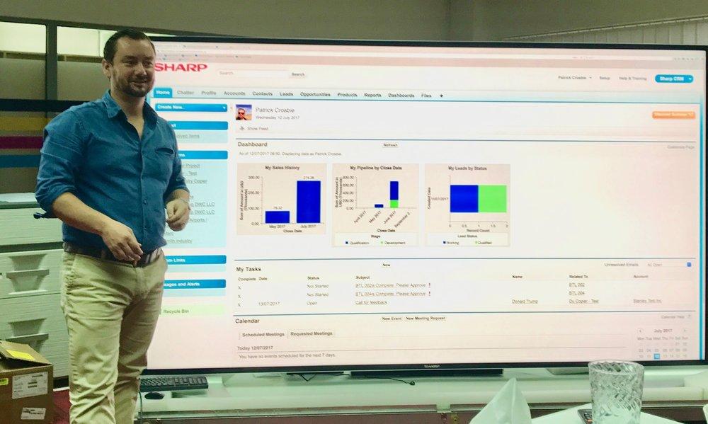 Onsite Salesforce training at Sharp Electronics.
