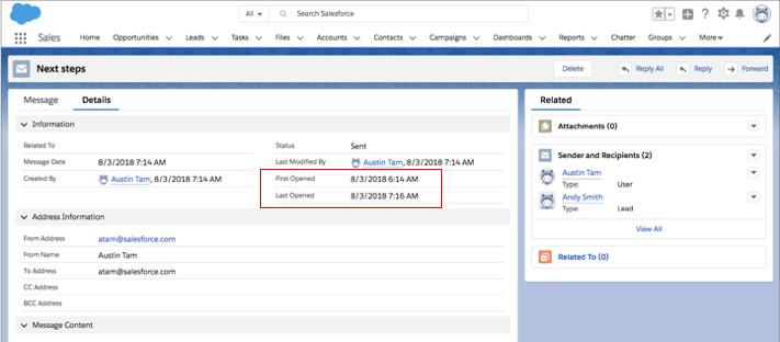 View each email sent within Salesforce, see when the email was first opened and most recently opened.