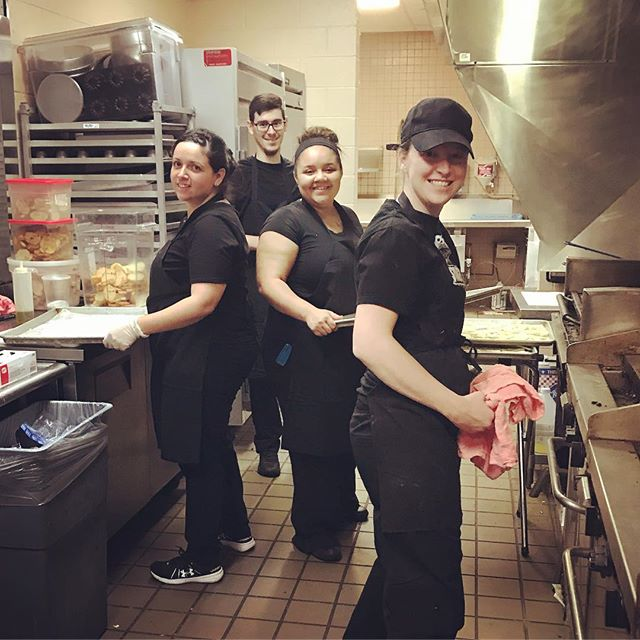 Hardest working people in the business! All smiles as our team gears up for another busy weekend.