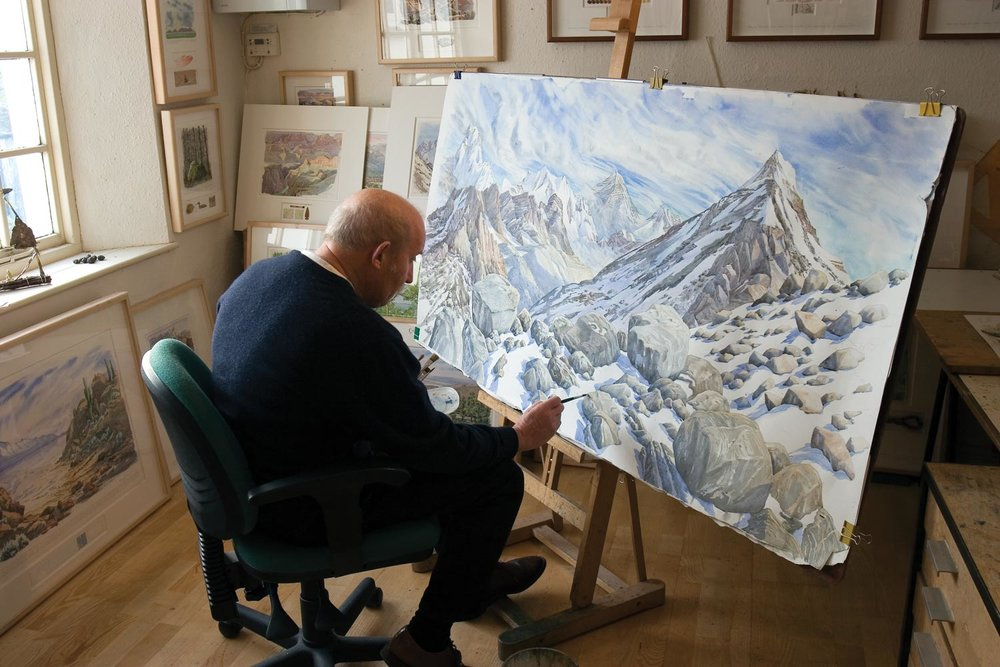 Tony Foster painting in his studio, July 2014. Photos by Chris Chapman