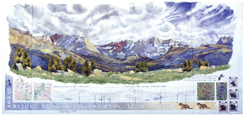 Tony Foster,  From Mather Pass to Pinchot Pass , 1986  |  Watercolor and graphite on paper, mixed media  |  22 x 46 1/2 in.  |  1986.1.17
