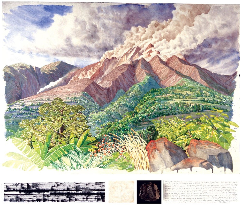 Tony Foster,  Montserrat from Harris Lookout, 190º S to Soufrière Hills Volcano , 1996  |  Watercolor and graphite on paper, mixed media  |  22 1/4 x 30 7/8 in. / 3 x 31 in.  |  1996.1.25