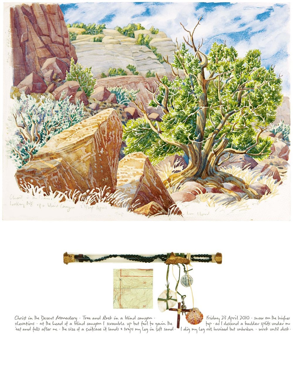 Tony Foster ,  Christ in the Desert Monastery, Tree and Rock in a Blind Canyon , 2010
