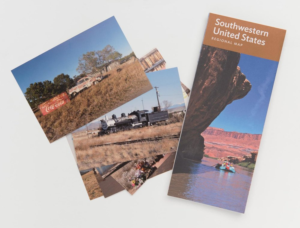 A set of six postcards of travel photos that Tony took while on one of his many trips to the American Southwest. 4.25 x 6 in.