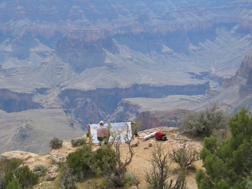 Tony Foster painting at Point Sublime, Grand Canyon, 2004.