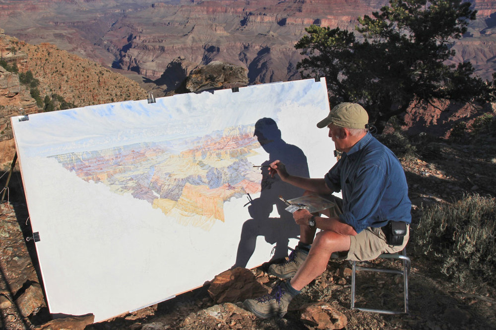 Tony Foster painting at Navajo Point in the Grand Canyon, Arizona, USA. May 23, 2013. Photo by Mike Buchheir. Courtesy of Foster Art & Wilderness Foundation.