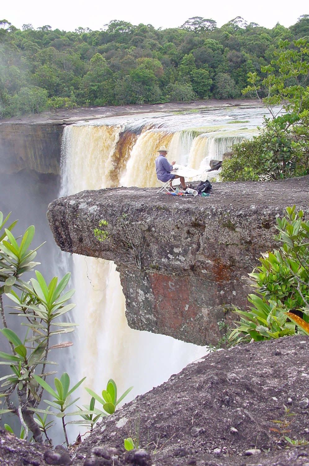 Tony Foster painting at Kaieteur Falls, Guyana, September 2002. Photo by Mike Nathan. Courtesy of Foster Art & Wilderness Foundation.