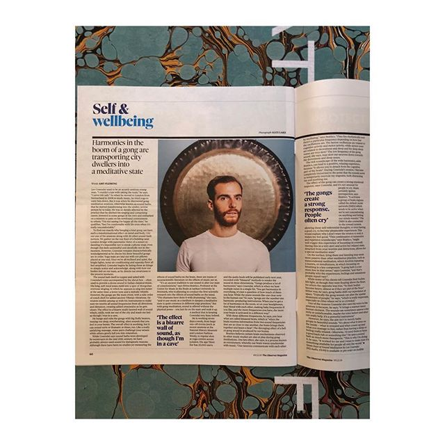 """Harmonies in the boom of a gong are transporting city dwellers into a meditative state""  Thank you Amy Fleming @observer @guardian for this amazing article on my work with sound: #gongbath 〰️ My audiobook 7 Days of Sound Meditation is available for pre-order on @audible"