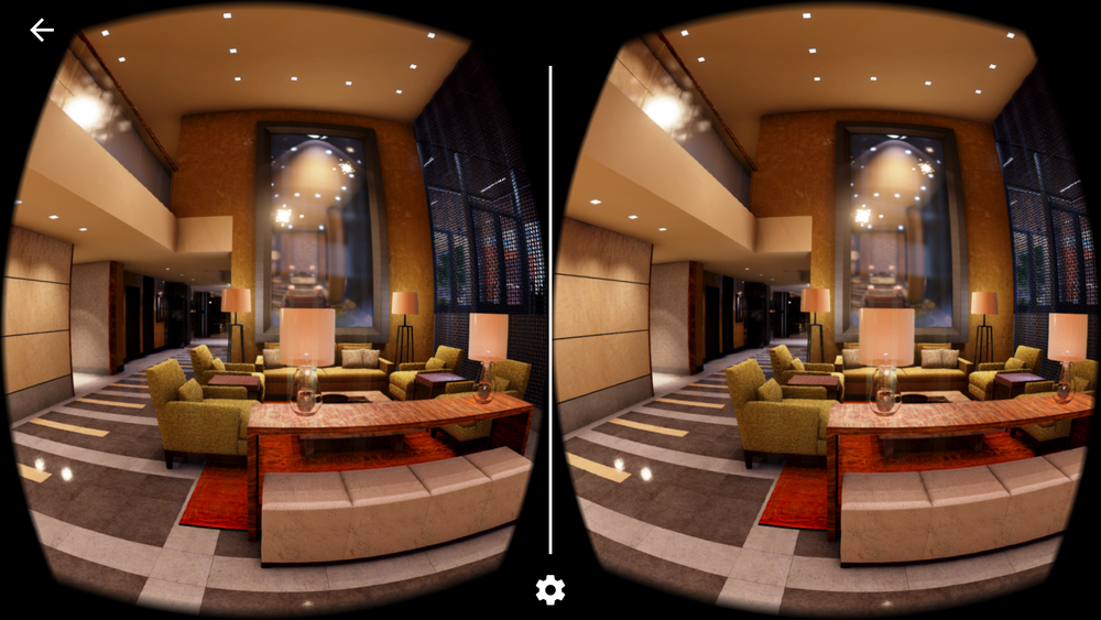360 degree view of lobby to sell a new residential development
