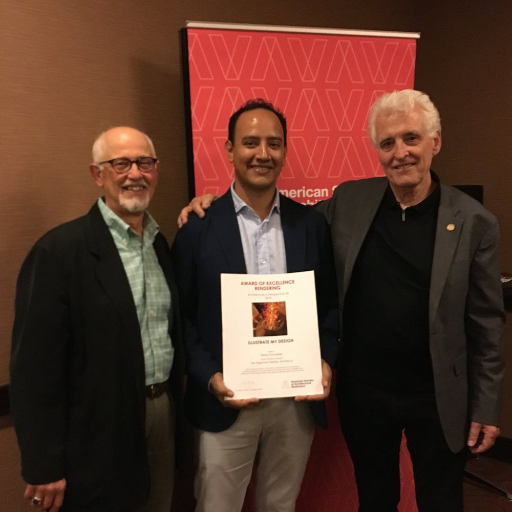 "Frank Costantino and Gordon Grice presenting Daniel Zeballos of Illustrate My Design (IMD) the Award of Excellence in Rendering at the 2018 ""Architecture in Perspective"" conference hosted by the ASAI."