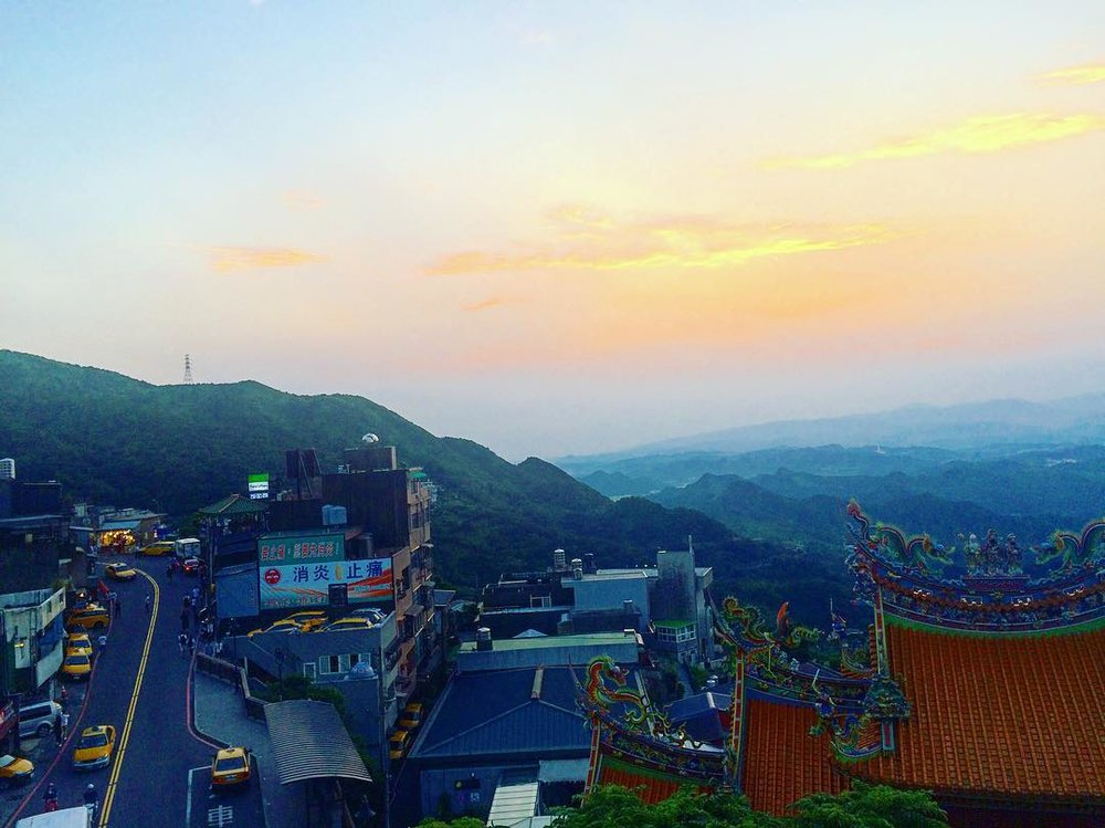I took this photo in Jiufen, where we watched the sun set and I squinted out at the mountains, imagining the ghosts in THE ASTONISHING COLOR OF AFTER hovering near.