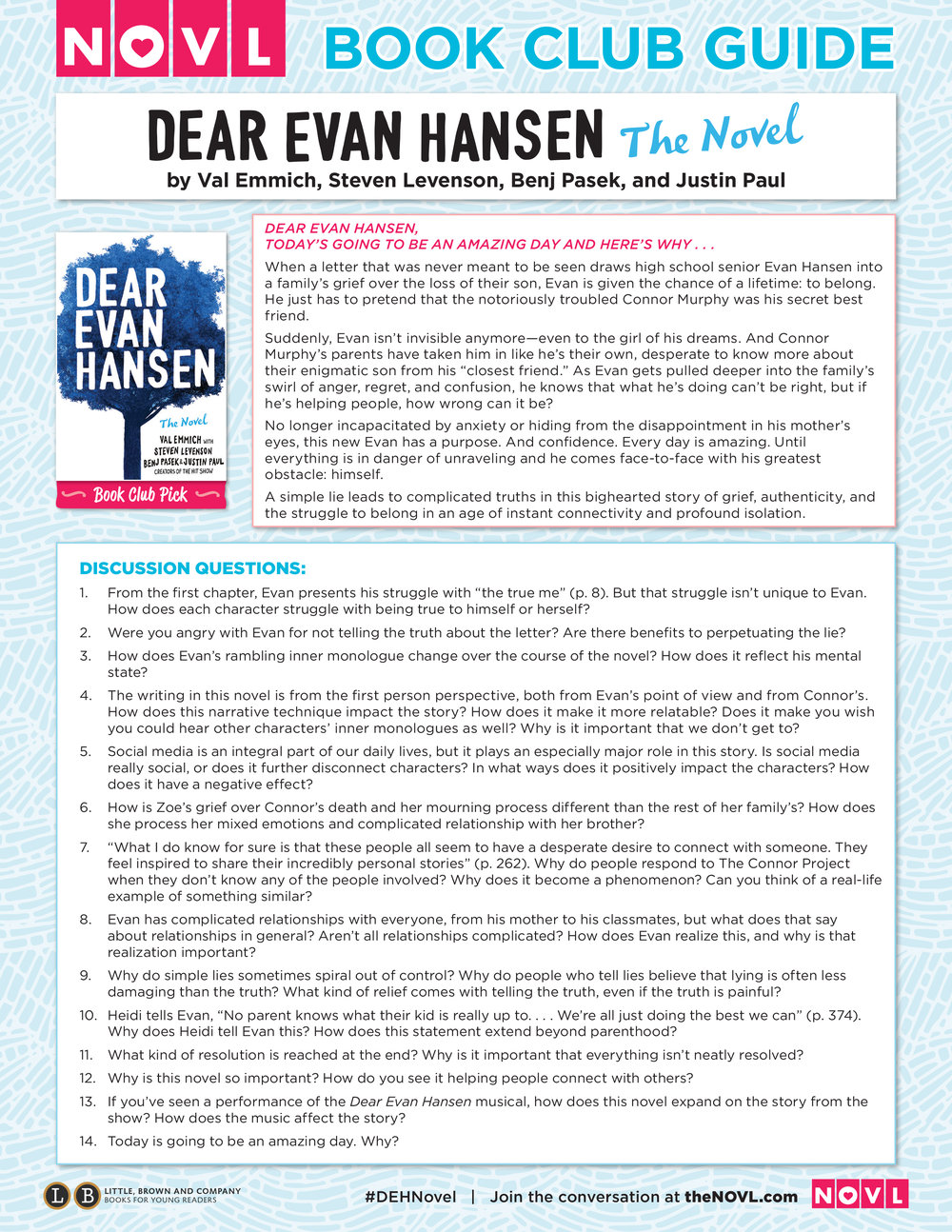 Dear Evan Hansen book club guide