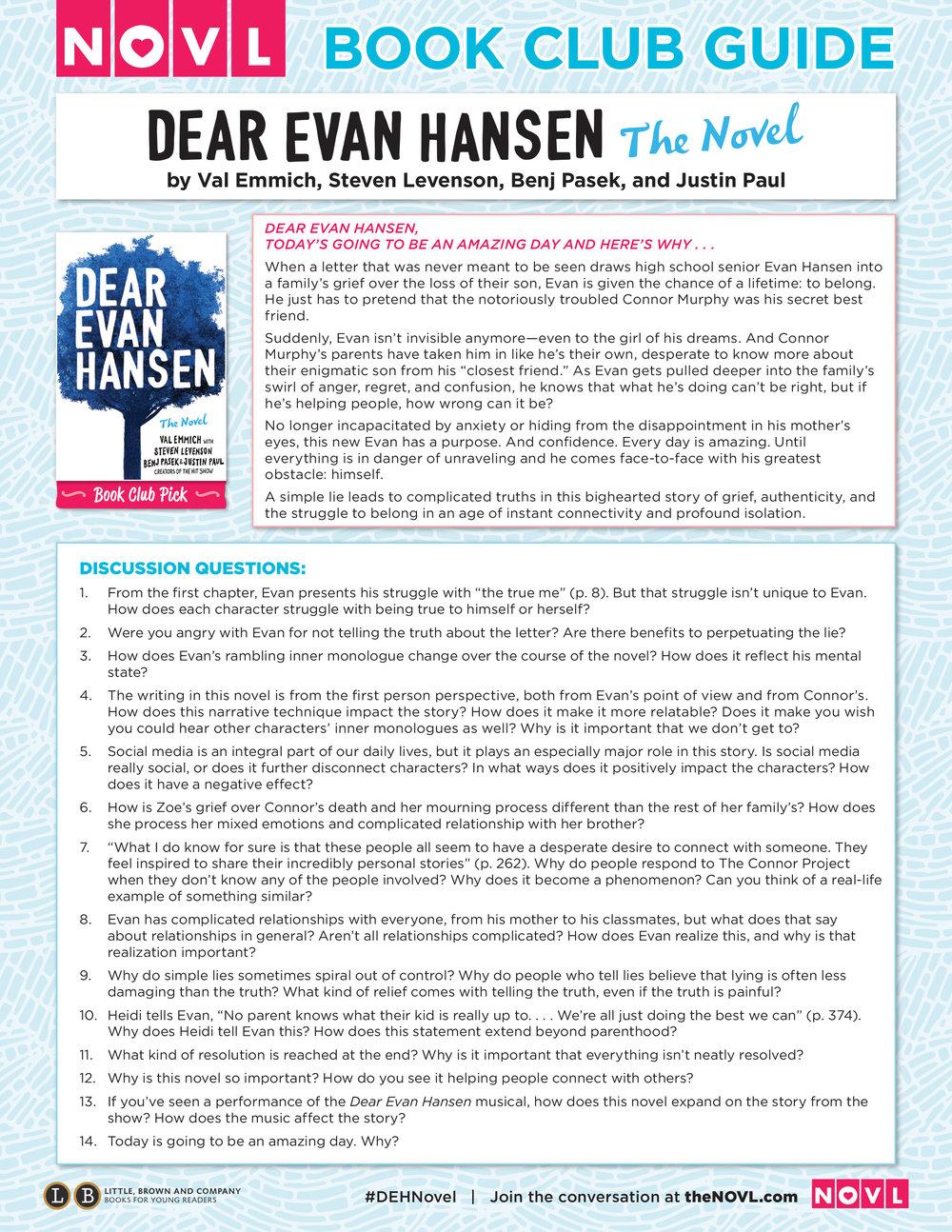 Dear Evan Hansen book club guide