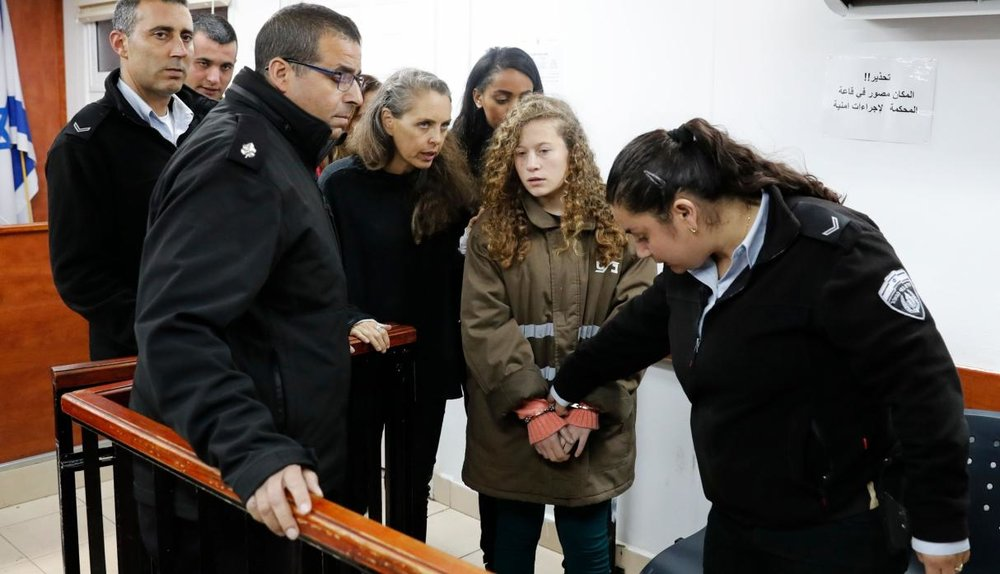 Ahed Tamimi appears in military court in January 2018.