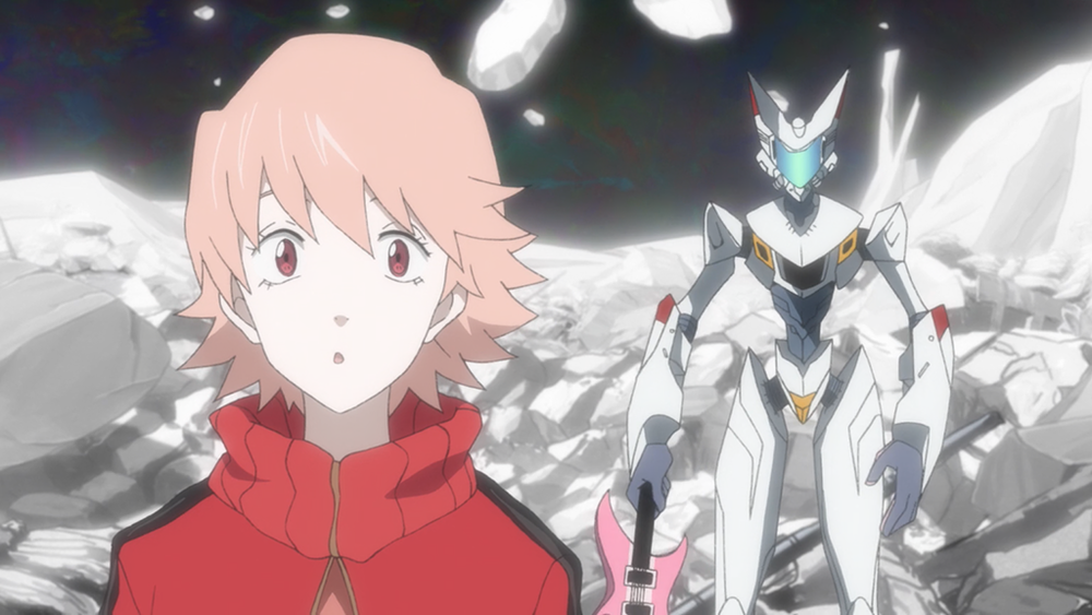 In the series finale, Haruko and Hidmo become rivals toward a similar goal. Hidomi (in a newly revealed suit of robot armour) applies what she has learned by acting to get see her vision turned into a reality.  Source:http://flcl.wikia.com/wiki/File:Haruko_and_Hidomi.png