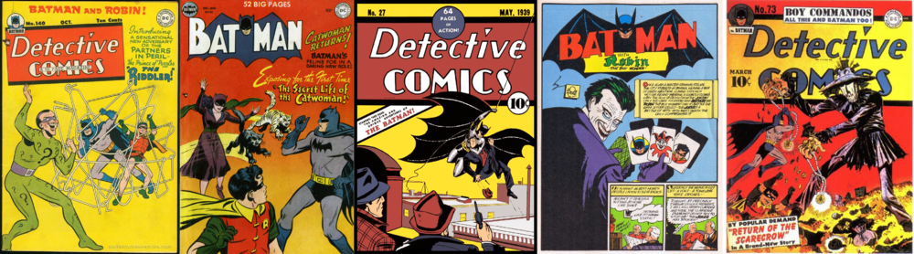 Some of the first appearances of the Riddler, Catwoman, Batman, The Joker, and the Scarecrow.
