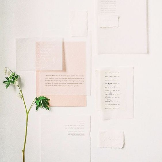 Flatlay Style Tip | Layer paper, handwriting and a bit of greenery to add a considered, graphic vibe to the branded photos in your grid. ⠀ ⠀ 📷 @oncewed⠀ ⠀ #propstyling #thescienceofstyling #sustainablestyle #flatlayinspiration ⠀