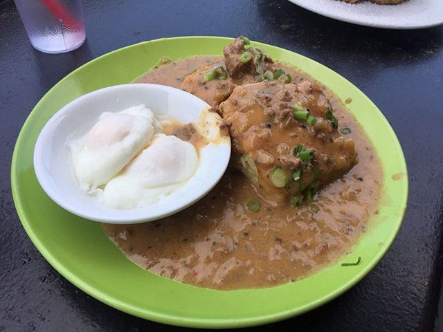 Brunch is coming again this Sunday! 10am-2:30pm. Try the City Biscuits & Gravy with two eggs however you want (shown here poached). #repost from Abe L. on Yelp. #gatorscreolefriends