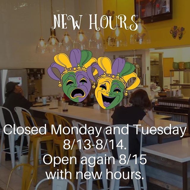 We're closed Monday and Tuesday next week. Open again with updated hours starting at noon on Wednesday 8/15. #gatorscreolefriends