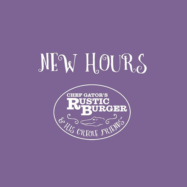 We're closed today and Tuesday. We're opening again Wednesday at noon with new hours! Monday: Noon - 7pm ( limited menu only) Tues: Noon - 8pm Wed: Noon - 8pm Thurs: Noon - 8pm Fri: Noon - 8:30pm Sat: Noon - 8:30pm Sunday Brunch: 10am - 2pm #gatorscreolefriends