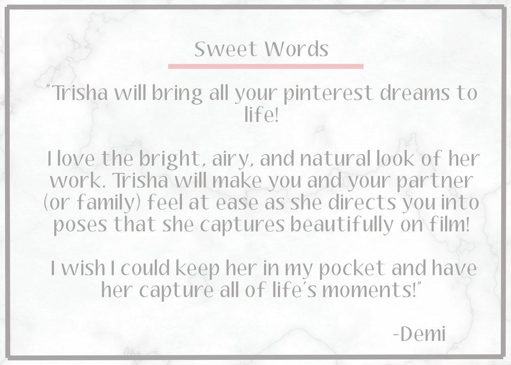 Sweet Words — Trisha Rose Photography