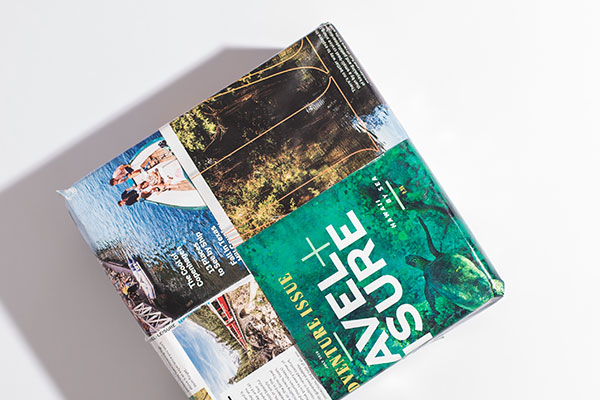 Got Magazines? - Tear out pages of your fave glossy and tape pages together to make your wrapping paper