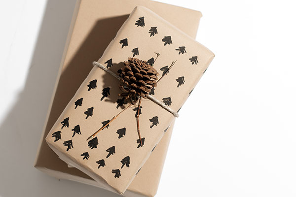 Classic Craft with tasteful details - Find a pinecone, some twine and wrap with classic brown paper from your local craft store. The eco-savings come from paper you paint yourself, like this simple evergreen pattern. Don't have paint or a brush? Try using a permanent marker instead.