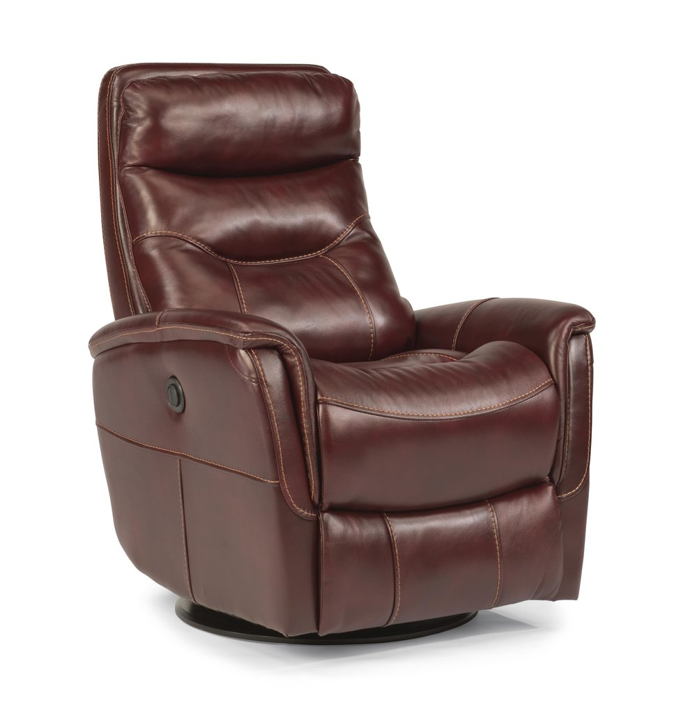 Alden Leather Power Swivel Recliner by Flexsteel