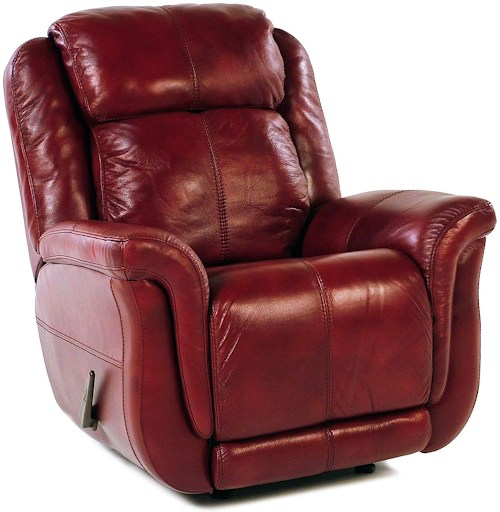 Brookings Red Leather Reclining Rocking chair by Flexsteel