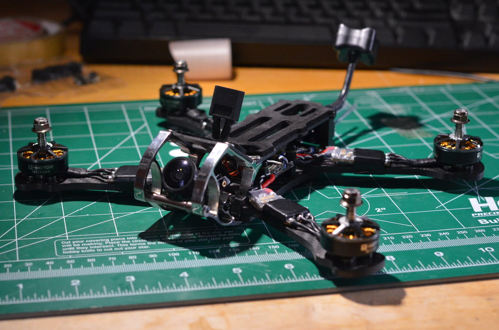 Armattan Rooster - Freestyle power house equipped with TBS Crossfire UHF system, T-Motor F40 Pros, and DYS FC and ESCs. Running Betaflight