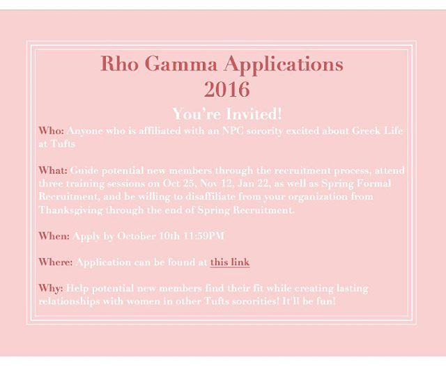 APPLY TO BE A RHO GAMMA FOR RECRUITMENT 2016! Hey everyone, Panhel just released the 2016 Rho Gamma application! The link is: https://docs.google.com/forms/d/e/1FAIpQLSdUPtcGDr04ElCcaR7yoBQ3wRw2ii9Y4USKdrJyMZ93tx7p-w/viewform Go apply!