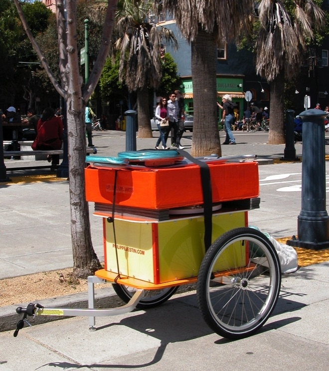 Art Bike Trailer ready to deploy with the display folded in the orange box