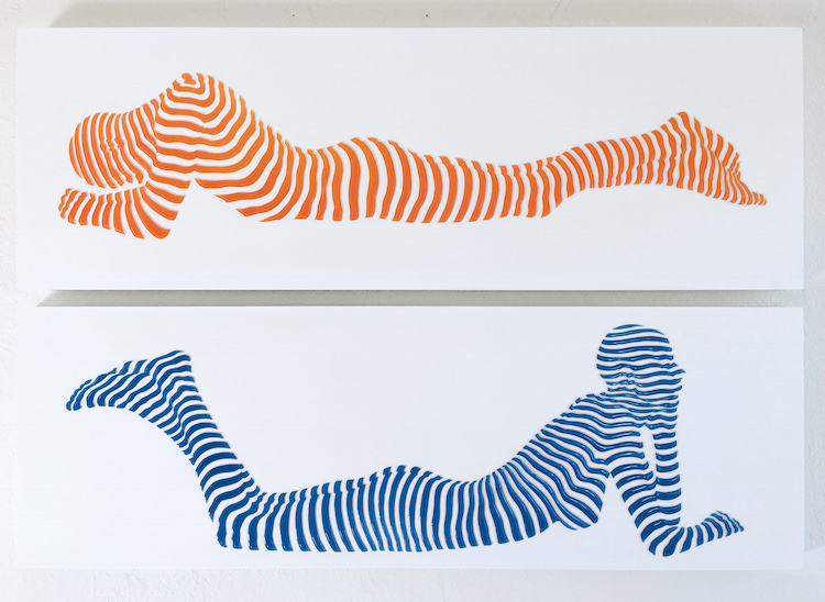 "Stripe Pose #14.Top- Stripe Pose#10. Bottom. 12""x36""x1.5"""