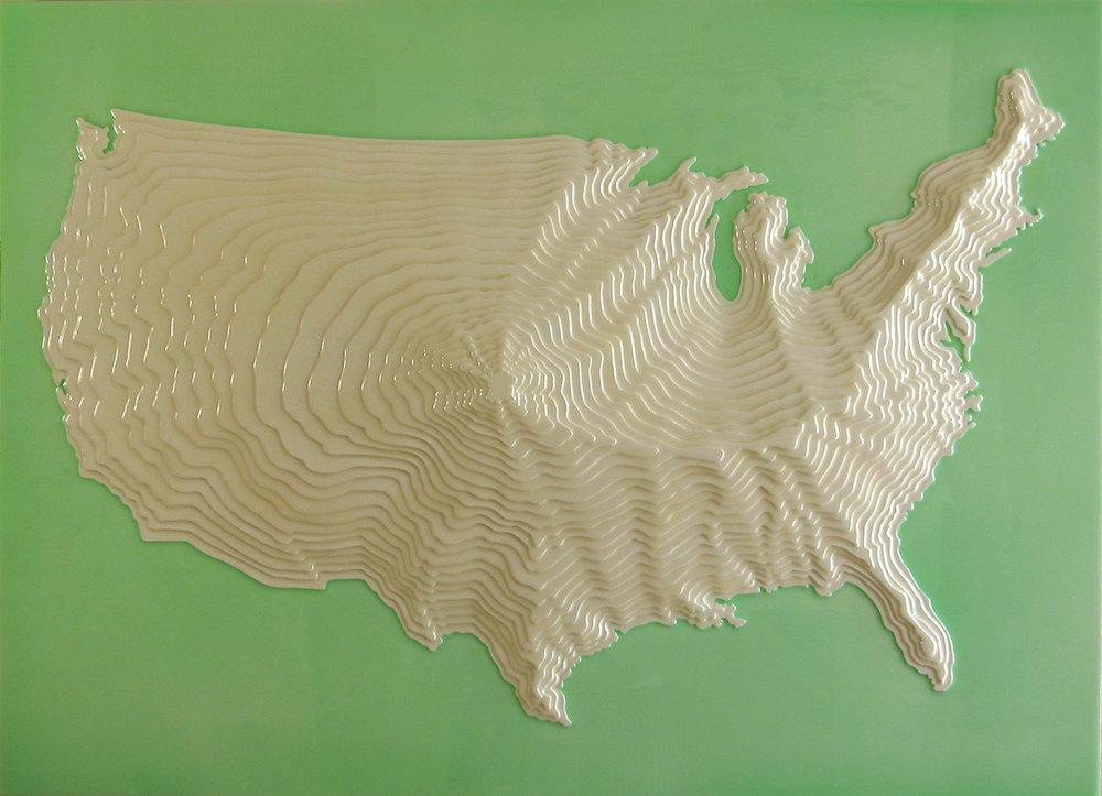 """L'USA. 2006. 29""""x40""""x3"""""""