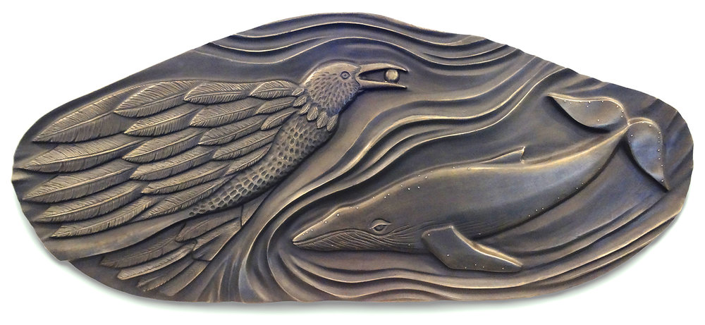 "Raven & Whale - Sometimes I don't understand the full meaning behind my creations.  I  follow what I see in my mind's eye and allow what comes forth to speak its own message to each individual viewer.Size: 36"" x 48"" x 2.5""Medium: BronzePrice: $7,200Purchase through Harbor Square GalleryNote: This sculpture is also available in wood from which this casting was made.  $6,800"