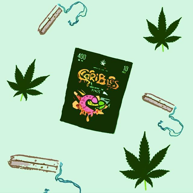 MARIJUANA AND MENSTRUATION (by: @proudlylauren) The 1st time I had an edible I ate too much and curled up in the corner of my dorm room, sobbing over a family size bag of ruffles, as I begged my BFF to make me un-high. I don't remember much about the experience after the weed coma, so panic was all I had associated with edibles. _____________ Recently though, i found an article on @ManRepeller, where a girl used Whoopi Goldberg's THC products to cure period pains, and figured I'd matured enough to try again. Especially now that so many women and studies have finally shined light on what we already knew to be true: periods can be as painful and debilitating as heart attacks, or slipped discs in my case. _______________ When that happens I usually take my mom's painkillers, or the more than directed amount of ibuprofen, accompanied with quick 12 hour naps, and all the Hershey Cookies n Crème white chocolate bars Walmart has in stock. For my THC trial though, I wanted to try something natural with less risk for ass cellulite.  _______________ I used the 400mg sour rings by @the_carative_group, which the salesperson suggested were good for pain relief at 800mg a day.  _______________ On the first and most diabolical day, of my girl flu I started with 200mg (half-bite) in the morning and went to work which was an accomplishment in itself. Although I still had slight cramps I noticed my back didn't feel like the normal spaghetti noodle. I also had a better mood, which was made apparent by my man boss who's daily misogynistic comments usually send me into a spiral, but were ignored. 400mg later that day, my back nor my stomach were in pain, and I wasn't high in a corner again. I wasn't high at all actually just relaxed. By the end of the day and 800mg  later I was still pain free, and productive enough to complete my work for the day.  _______________ Which was the case for the rest of my period as I finished the pack of sour rings.  By taking them consistency, I slept infinitely better, had less emotional outbursts, and hated my uterus less than I usually do so I'm sold on the edibles. For other women, try THC , at your own risk & consult with a dr. If you can.