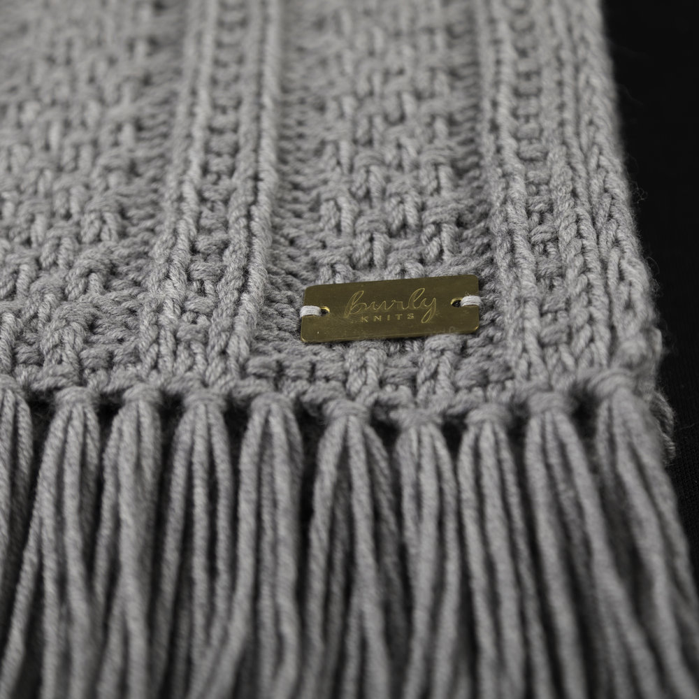 Textured Stripes Scarf - light heathered grey