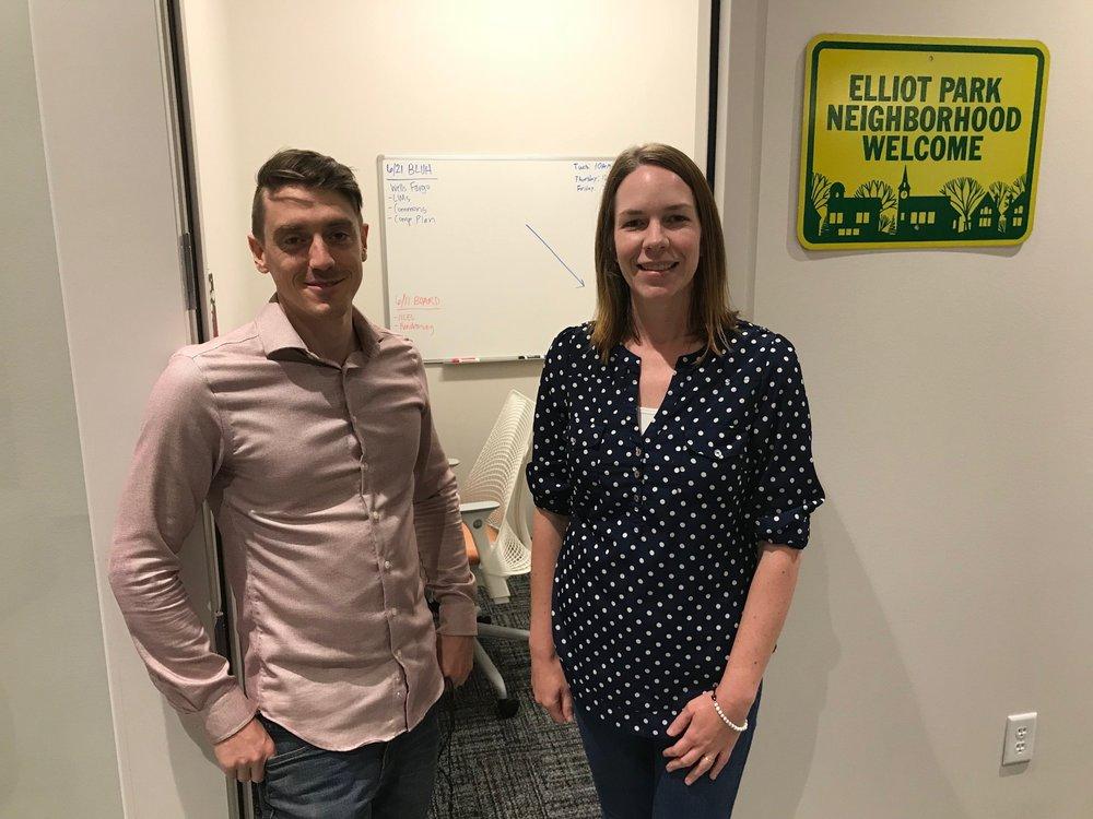 Jordan Munro, Community Organizer and Vanessa Haight, Executive Director of Elliot Park Neighborhood Inc.