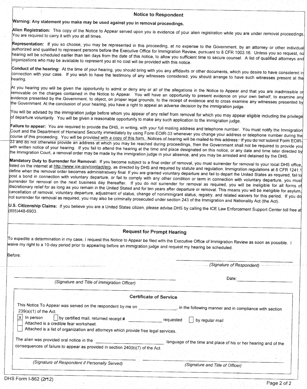 Notice to Appear (NTA) in Immigration Court - Section 6
