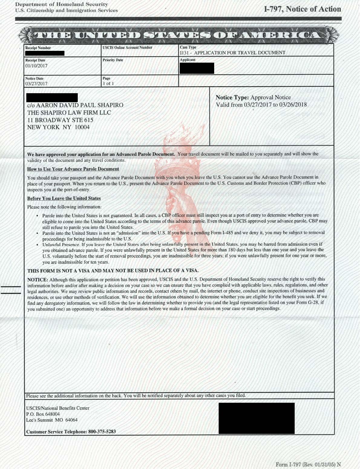 Form I-797, I-131 Approval Notice