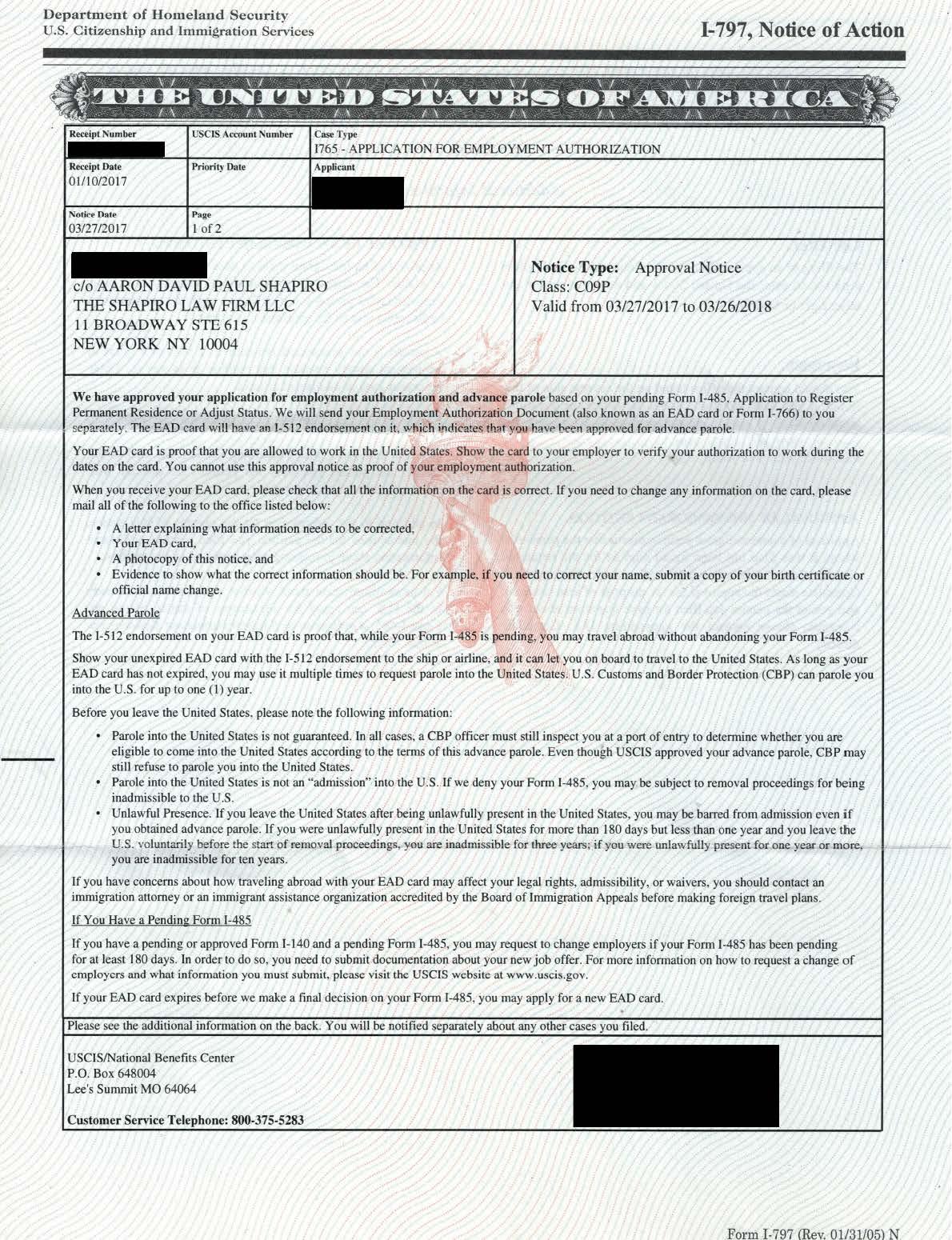 Form I-797, I-765 Approval Notice